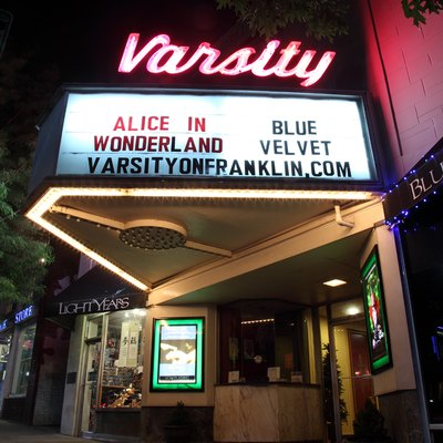 The Varsity Theatre at night on Franklin Street in Chapel Hill, North Carolina.