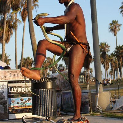 A street performer along the beachside boardwalk in Venice, Los Angeles, California, July 21, 2009.