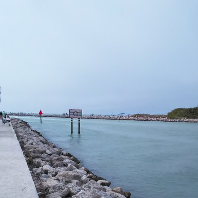 The piers forming the Venice Jetty