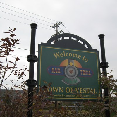 Welcome sign at the Town of Vestal Rail Trail