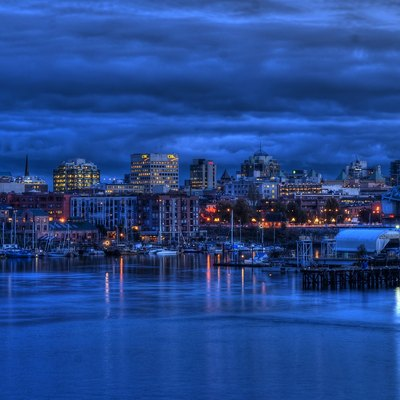 Downtown Victoria'S Skyline At Twilight In November 2009.