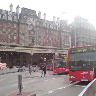 Victoria Bus Station, with three atriculated