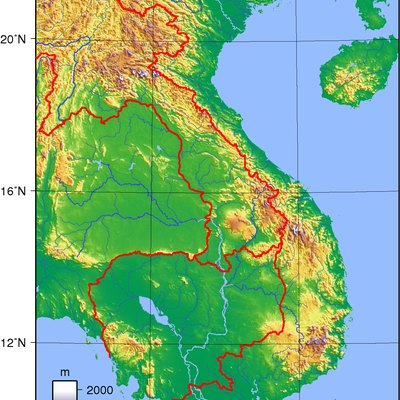 Topographic map of Vietnam. Created with GMT from publicly released GLOBE data[1].