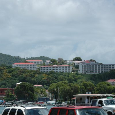 View of Bluebeard's Castle, from In Town, St Thomas US Virgin Islands