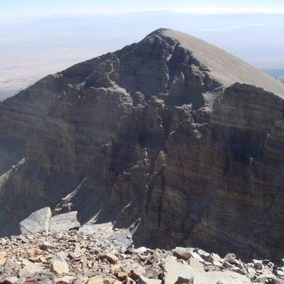 Highly durable quartzite of the Prospect Mountain Formation is the primary component of Wheeler Peak, the highest mountain peak entirely within Nevada. This picture is of Jeff Davis peak, from Wheeler Peak.