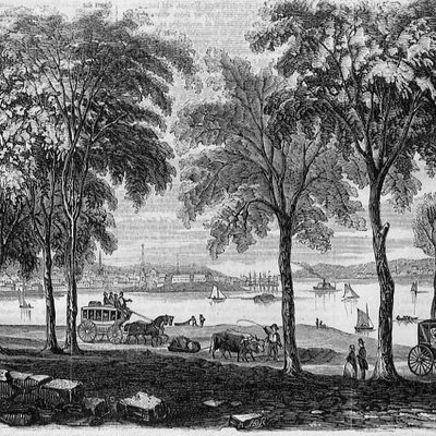 View of New London, Connecticut, from the Shore Road, an engraving published November 1854 in Gleason's Pictorial Drawing-Room Companion, Boston, Massachusetts