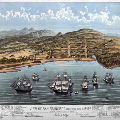 Birdseye map of San Francisco in 1847.