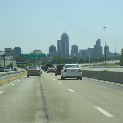 A view of downtown Indianapolis from I-70.