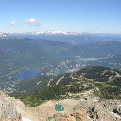 Picture taken from whistler mountain and shows the town of whistler and it surroudings. Taken in summer.