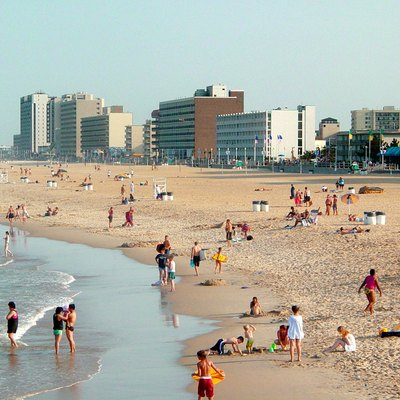 The Virginia Beach oceanfront, boardwalk, and hotels as seen from the Fishing Pier.