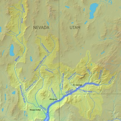 Map of the Virgin-Muddy River watershed in UT, NV and AZ in the United States, part of the Colorado River Basin