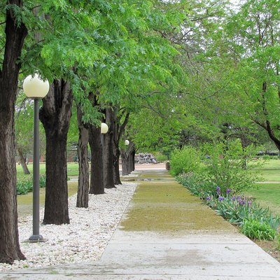 Walkway outside Golden Library at Eastern New Mexico University