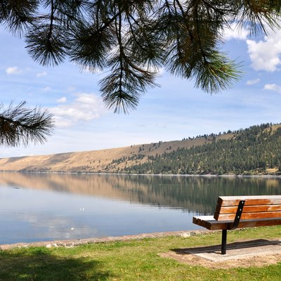 Wallowa Lake as seen from a bench near the marina of Wallowa Lake State Park, near Joseph, Oregon, in the United States. The park is at the south end of the lake.