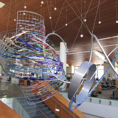 The stairwell of the Walnut Creek Library features the permanent installation,
