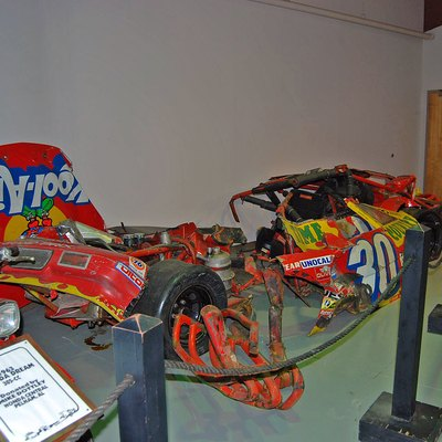 The ruined remains of Michael Waltrip's race car from 1990 at Bristol Jason Trew Photo