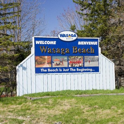 This is the Town of Wasaga Beach's sign to let you know you are entering the town. This one is on the west end of town.