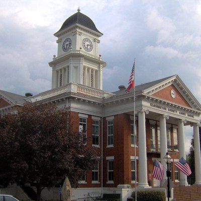 Washington County Courthouse in Jonesborough, Tennessee, in the southeastern United States.
