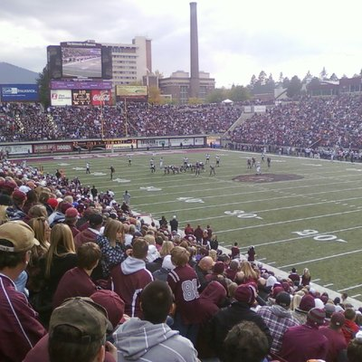 View of Washington-Grizzly Stadium in Missoula, Montana from the northeast corner on October 23, 2010. The Grizzlies scored on this drive in the final seconds to defeat The Northern Arizona University Lumberjacks.