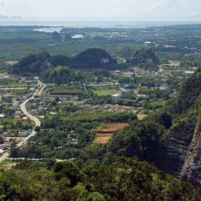 View from Tiger Cave Temple (Wat Tham Sua) in Krabi town, Krabi, Thailand.