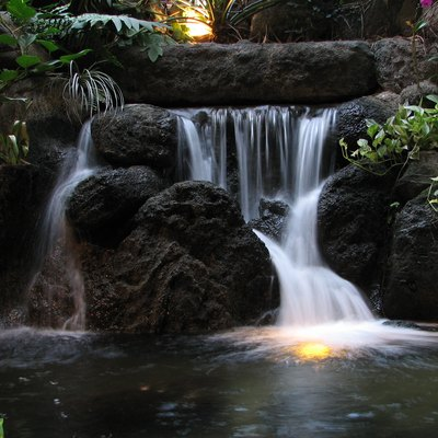 A waterfall in the atrium of Disney's Polynesian Resort in Florida.