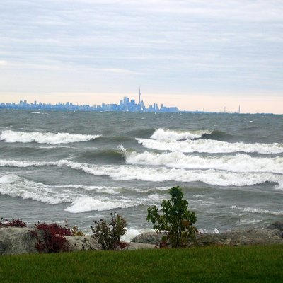 Waves in Lake Ontario, note the Toronto skyline in the background.