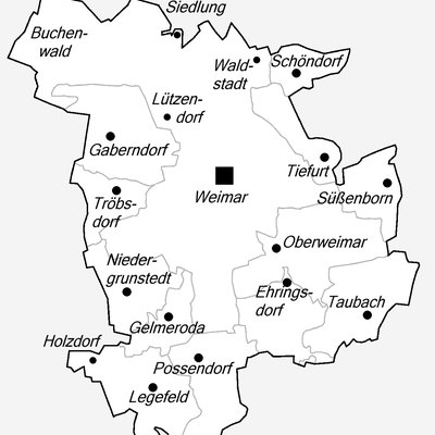 District-Map of Weimar in Thuringia.