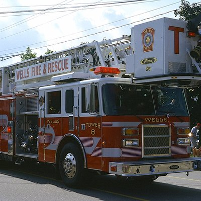 Tower 6 of the Wells Fire Department in Wells, Maine, participating in the town's 350th anniversary parade.