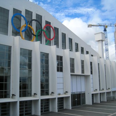Wembley regeneration Jul 2012: Wembley Arena with Olympic rings