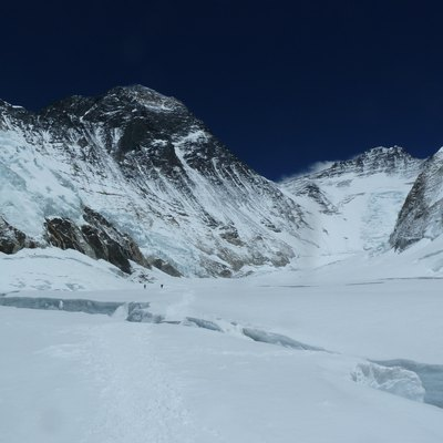 The Western Cwm below Mount Everest (left) and Lhotse (right)