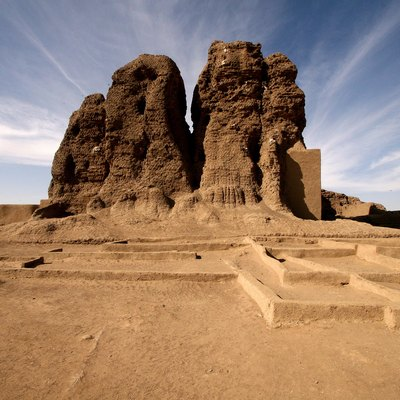 The large mud brick temple, known as the Western Deffufa in the ancient city of Kerma, Sudan.