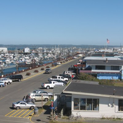 The marina district of Westport, Washington, taken from a watchtower facing Gray's Harbor.