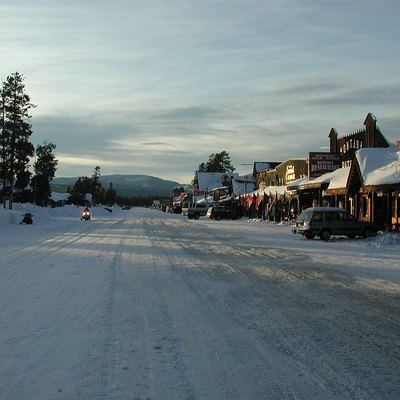Yellowstone Avenue in West Yellowstone, Montana, looking west near sundown