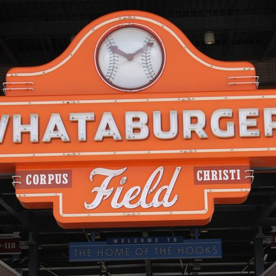 Whataburger Field sign located in Corpus Christi, TX; at the bottom, it reads