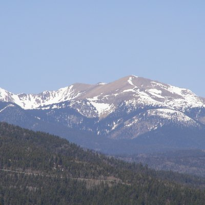 Wheeler Peak in the Sangre de Cristo Mountains of New Mexico. Taken from milepost 31 along New Mexico highway 434, on the southern outskirts of Angel Fire. As you get closer to the main section of Angel Fire, Old Mike Peak is visible, but not Wheeler Peak or Simpson Peak.