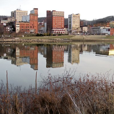 Downtown w:Wheeling, West Virginia and the w:Ohio River as viewed from w:Wheeling Island