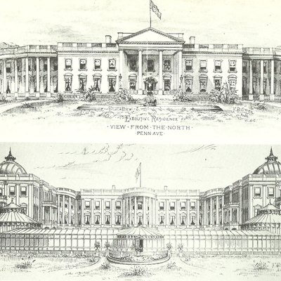 Proposed additions to the White House, drawn by Frederick D. Owen (1901)