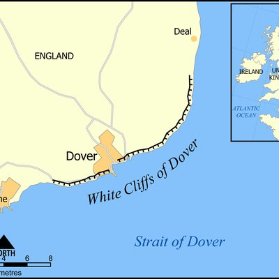 This map shows the location and roughly the extent of the White Cliffs of Dover. Created by NormanEinstein, December 19, 2005.