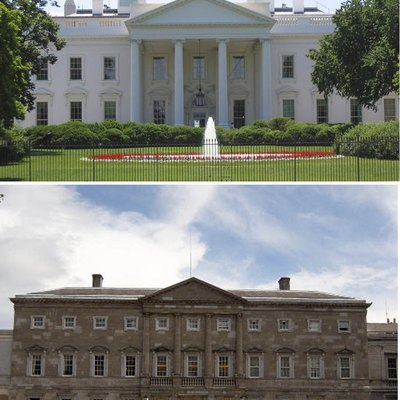 A comparison of the North Portico of the White House with the Leinster House
