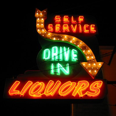An iconic sign lights up the Cork 'n' Bottle, a liquor store in Wildwood, New Jersey.
