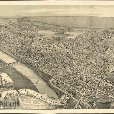 An old bird-eye map of Wilkes-Barre, Pennsylvania, United States.