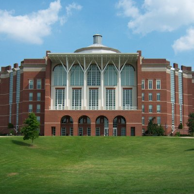 Side view of the William T. Young Library, located on the campus of the University of Kentucky.