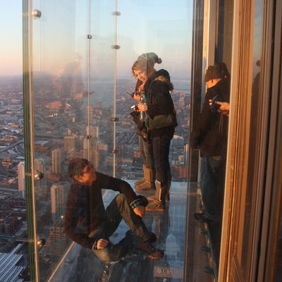 Glass balcony at the skydeck of the Willis Tower in Chicago, Illinois
