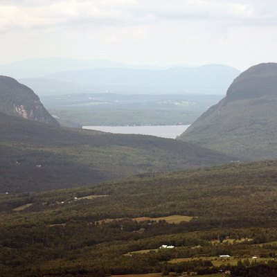 A view of Willoughby Notch, Willoughby Lake encased between Hor Mountain (left) and Mount Pisga (right).