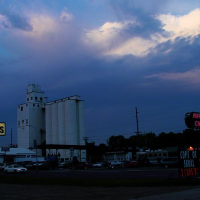 Auto Parts store, grain elevator and a Happy Chef in Windom, MN.