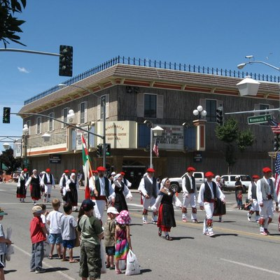 Traditional Basque dress in parade down Winnemucca Blvd during the Winnemucca Basque Festival. Winnemucca, Nevada. USA.