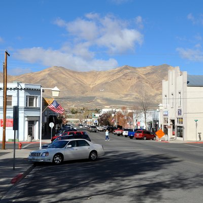 View along South Bridge Street in Winnemucca, Nevada, United States. Looking north toward Winnemucca Mountain.