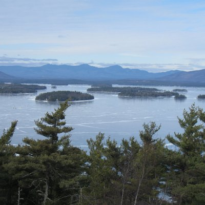 View of Lake Winnipesaukee in New Hampshire, looking from above Kimball Castle in Gilford north towards the Sandwich Range of the White Mountains. Photo by Ken Gallager, February 15, 2010.