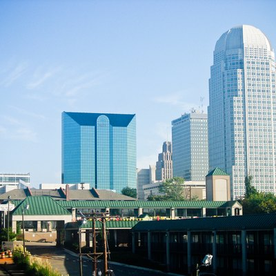 Skyline of Winston-Salem, North Carolina. The prominent building on the left is the BB&T Financial tower; the tallest building, on the right, is the Wachovia Center.