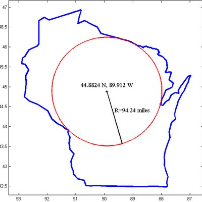 The pole of inaccessibility for Wisconsin. This is the point furthest from the border of Wisconsin, and therefore furthest from any point which is not in the state. The location was calculated and the image generated using Matlab.