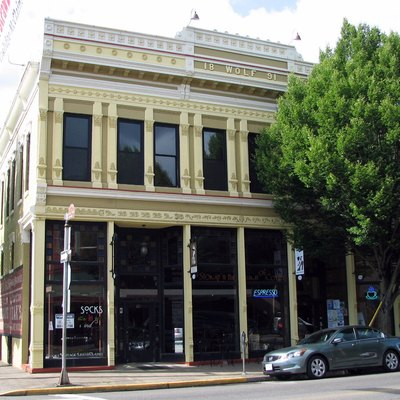 The historic Wolf Building (built 1891), located at the corner of Water and Main Streets in Silverton, Oregon, United States, lies within the Silverton Commercial Historic District.